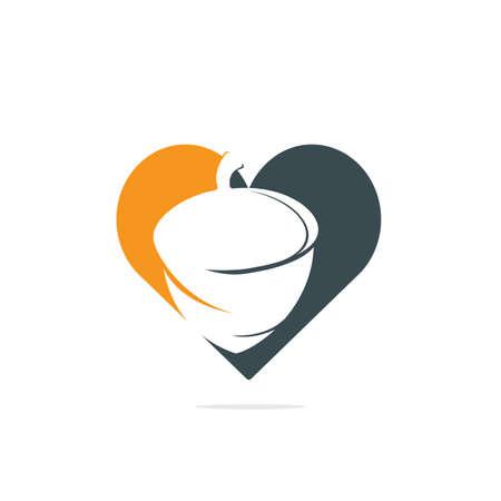 Creative Acorn heart shape logo Design Template. Autumn love vector logo design. Logos