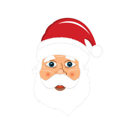 Modern Santa Claus vector illustration. Happy New Year or Marry Christmas greeting card design element. Ilustração