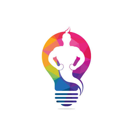 Genie Bulb Logo Design. Magic Fantasy genie concept logo.