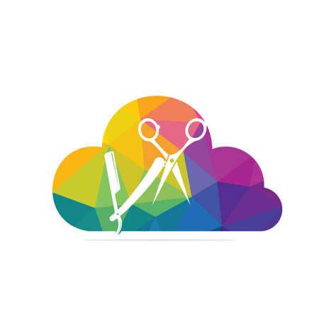 Logo for barbershop, hair salon. Barber Cloud Logo Icon Design. 矢量图像