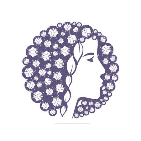 Girl leaves logo - white background illustration design