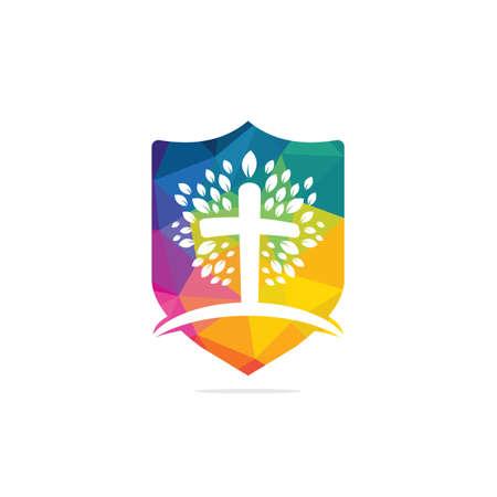 Tree religious cross symbol icon vector design. Prayer tree design template.