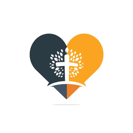 Abstract heart and tree religious cross symbol icon vector design.