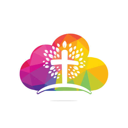Abstract cloud and tree religious cross symbol icon vector design. Church and Christian organization .