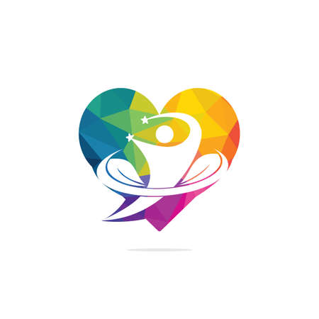 Human life logo icon of abstract human fitness vector. Human leaves heart shape sign and symbol.