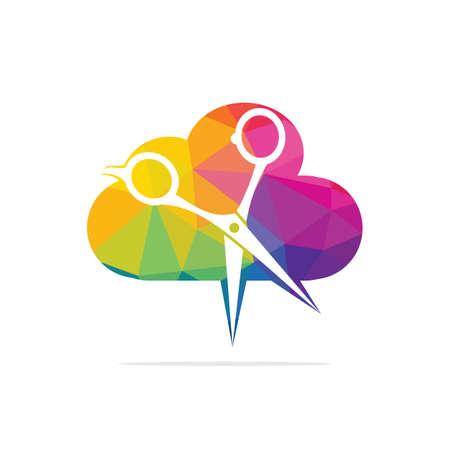 Logo for barbershop, hair salon. Barber Cloud Logo Icon Design. Illusztráció