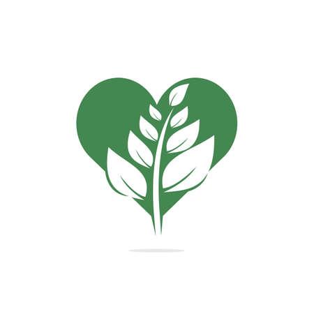 Heart Tree logo design. Love Tree logo design. Ecology Happy life Logotype concept icon. Ilustrace