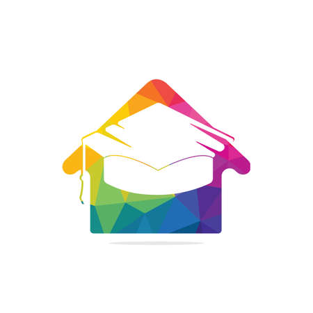 Education house shape logo design. Graduation cap and house icon. Education vector design template.