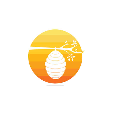 Conception de vecteur de logo de ruche en nid d'abeille. Illustration vectorielle plane d'icône de miel pour le logo, le web, l'application, l'interface utilisateur.