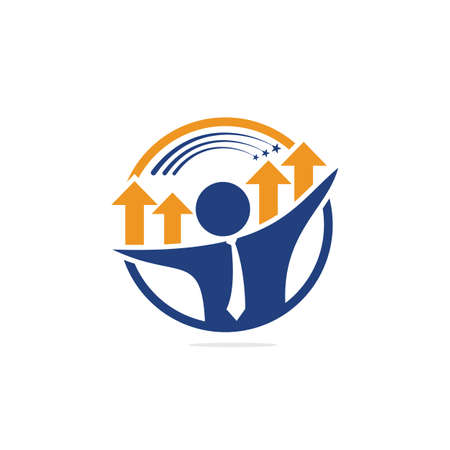 Businessman and graph vector logo design. Businessman logo icon. People logo icon. Business logo sign. Illustration