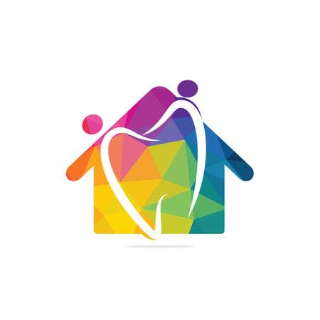 Family home dental medical clinic logo design. Abstract human, tooth and house vector logo design.