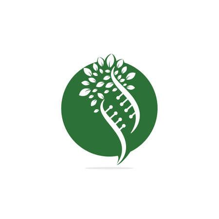 Dna tree vector logo design. DNA genetic icon. DNA with green leaves vector logo design. Logos