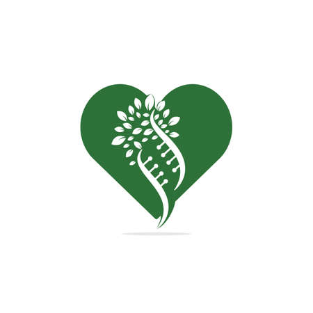 Dna tree and heart shape vector logo design. DNA genetic and heart icon. DNA with green leaves vector logo design. Stock Illustratie