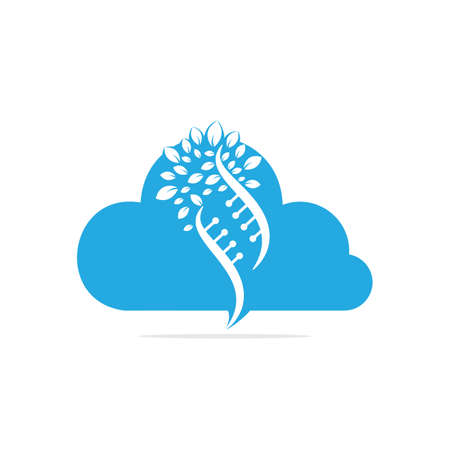 Dna tree and cloud shape vector logo design. DNA genetic and cloud icon. DNA with green leaves vector logo design.