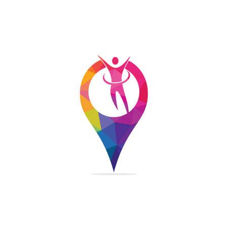 Human and map pointer logo design. Human and gps locator symbol or icon. Unique human and pin logotype design template. Illusztráció