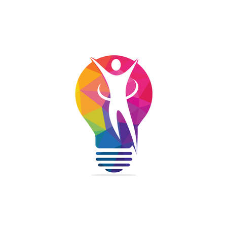 Happy human and light bulb logo design. Concept for business solutions creativity innovation coaching and education. Human health sign. Illusztráció