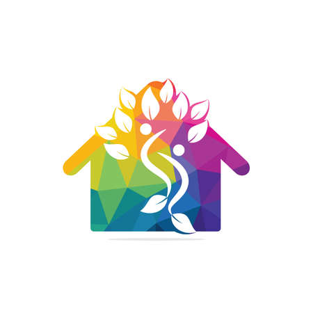 Human life logo icon of abstract people tree and house vector. Family tree sign and symbol.