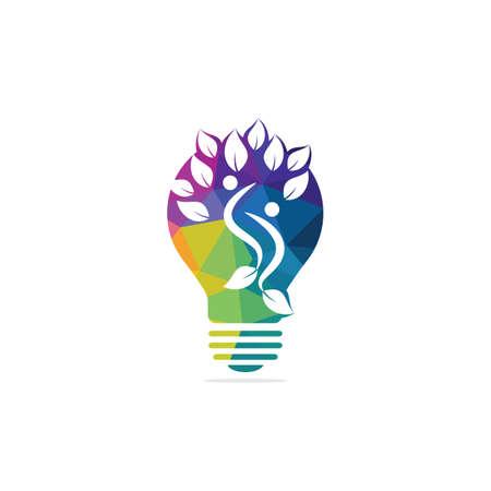 Bulb lamp and people tree logo design. Human health and care logo design. Nature idea innovation symbol. Illustration