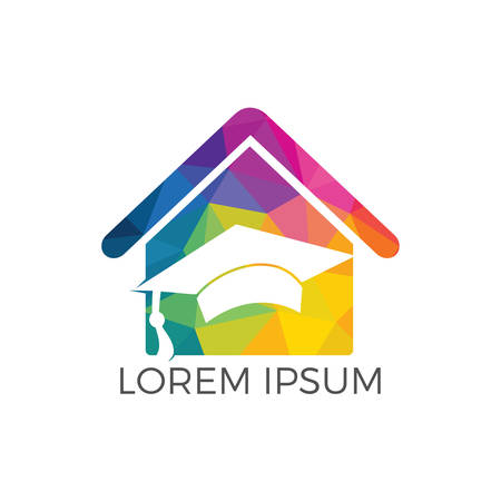 House School Education Logo Design. Student housing logo template. Students accommodation vector design. Bachelor cap and house roof logo.