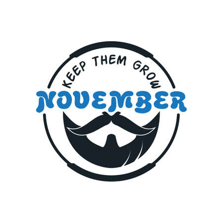 November cancer awareness Vector icon. Mustache and hand lettering text symbolize. Vector poster or banner for no shave social solidarity November event against man prostate cancer campaign. Ilustração