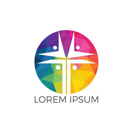 People church vector logo design template. Church and Christian organization logo.