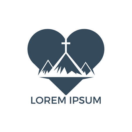 Baptist cross in mountain logo design. Cross on top of the mountain and heart shape logo. God Christian Love conceptual logo design