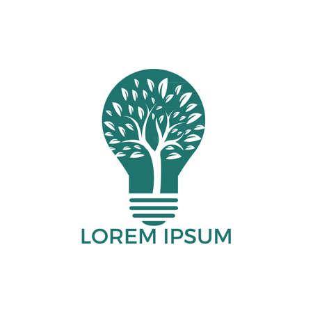 Abstract bulb lamp with tree logo design. Nature idea innovation symbol. ecology, growth, development concept. Ilustração