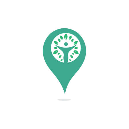 GPS human tree vector logo design. Human tree GPS location pointer vector icon logo design template.