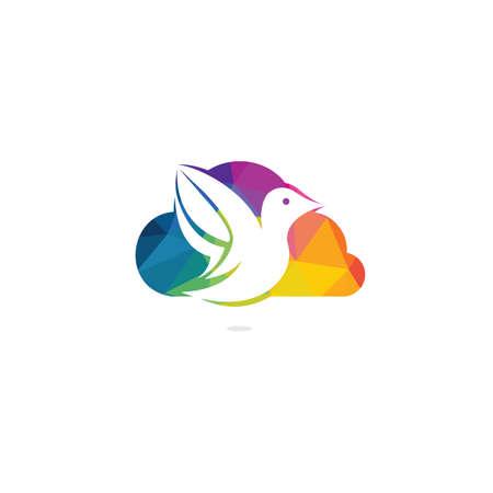 Cloud bird vector logo design. Creative bird and cloud icon. 일러스트