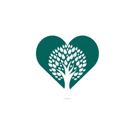 Heart Tree logo design. Love Tree logo design. Ecology Happy life Logotype concept icon. 일러스트