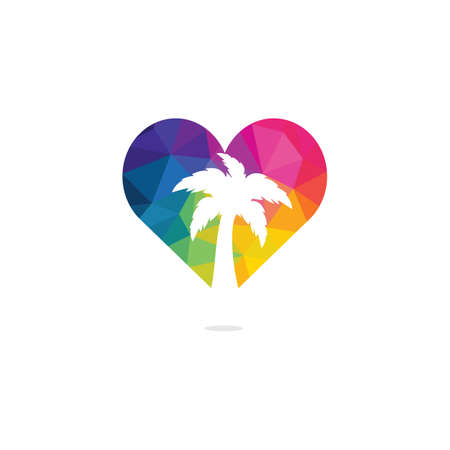 Heart shaped tropical beach and palm tree logo design. Creative simple palm tree vector logo design.