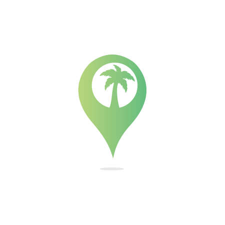 GPS beach sign vector logo design. GPS and palm tree icon. Navigation vector logo. Navigation vector icon.