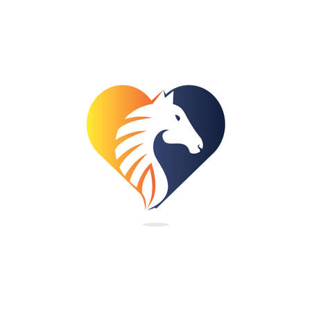 Horse head with heart shape logo design. Horse love template.