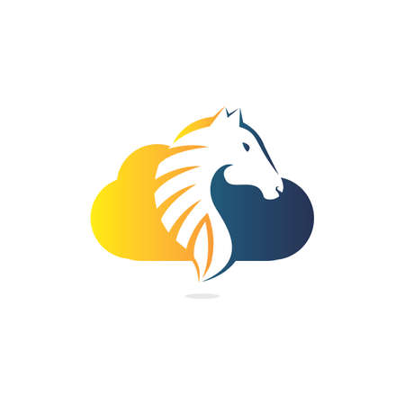 Cloud and horse logo design. Creative horse and cloud icon design.