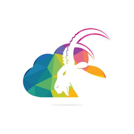 Goat And Cloud Logo Design. Mountain goat vector logo design. Vectores
