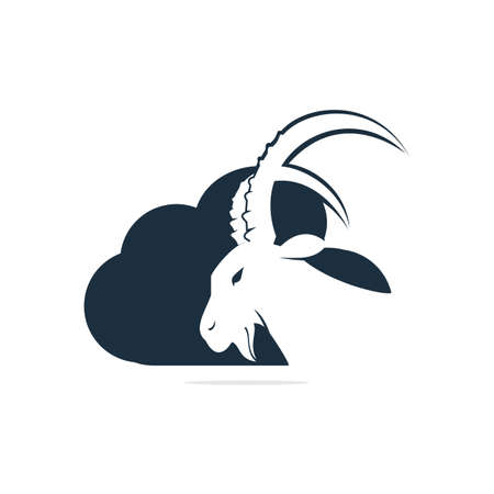 Goat And Cloud Logo Design. Mountain goat vector logo design. Çizim