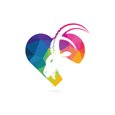 Goat And Heart Logo Template Design. Mountain goat vector logo design.