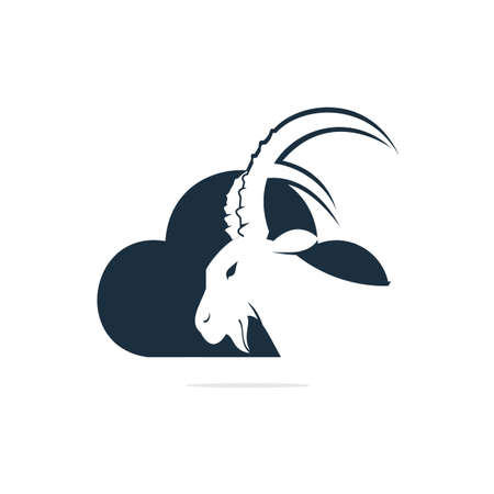 Goat And Cloud Logo Design. Mountain goat vector logo design.