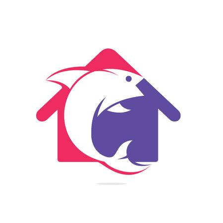 Fish and home icon vector design icon. Vectores