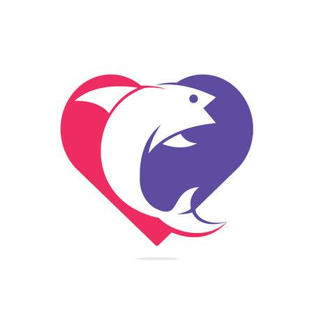 Fish heart shape vector design.