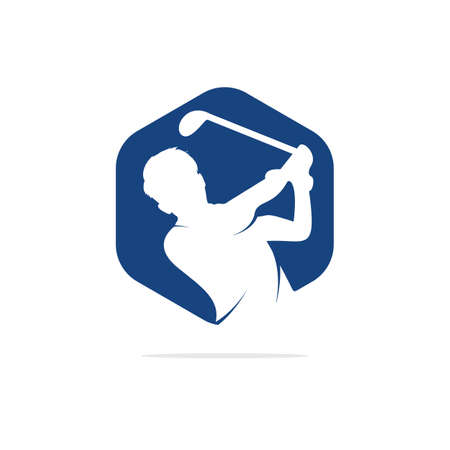 Golf player hits ball inspiration icon and symbol design Vectores