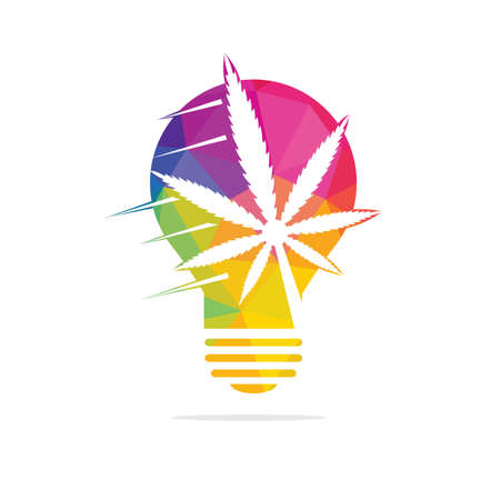 Cannabis energy light bulb vector icon and symbol design.