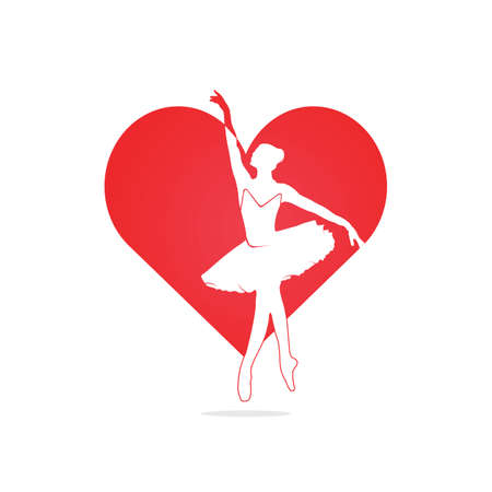 Love ballet vector symbol or icon design.