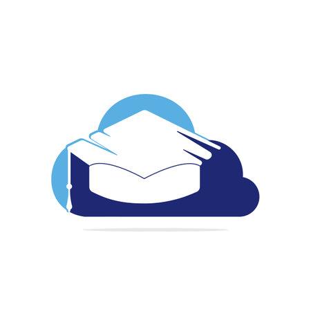 Online education logo idea. Graduation cap and cloud icon design. E-learning concept template.