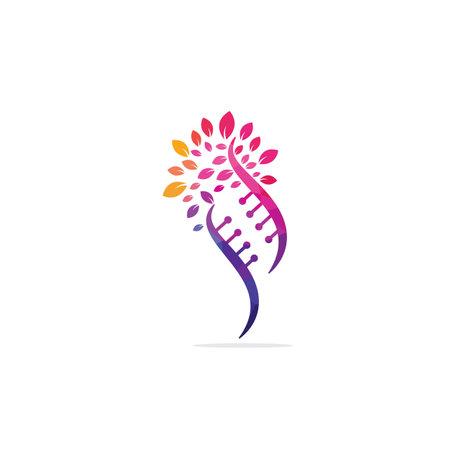 Dna tree vector logo design. DNA genetic icon. DNA with green leaves vector logo design.