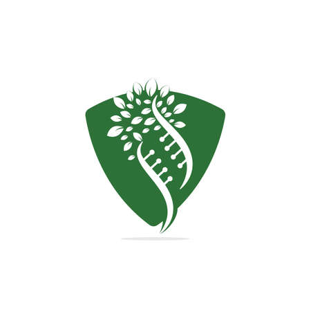 Dna tree vector logo design. DNA genetic icon. DNA with green leaves vector logo design.