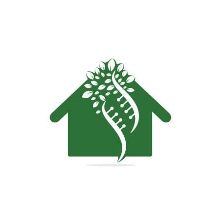 Dna tree and house shape vector logo design. DNA genetic and house icon. DNA with green leaves vector logo design.