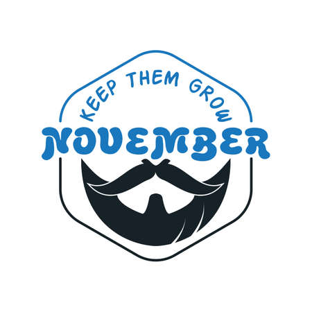 November cancer awareness Vector icon. Mustache and hand lettering text symbolize. Vector poster or banner for no shave social solidarity November event against man prostate cancer campaign.