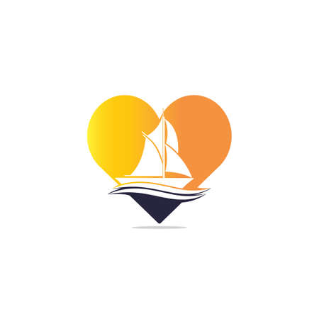 Yacht heart shape design. Yachting club or yacht sport team vector design. Marine travel adventure or yachting championship or sailing trip tournament. Illustration