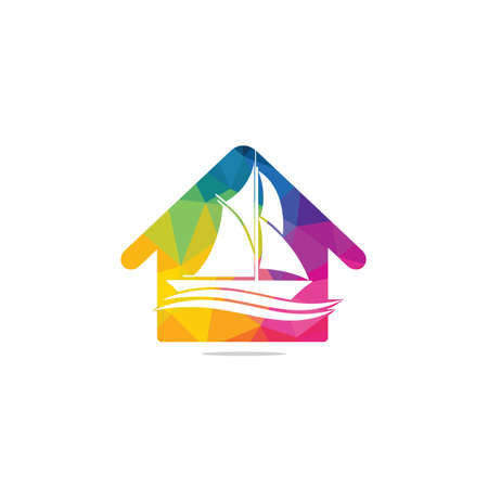 Yacht club design. House and yacht concept design. Marine travel adventure or yachting championship or sailing trip tournament.